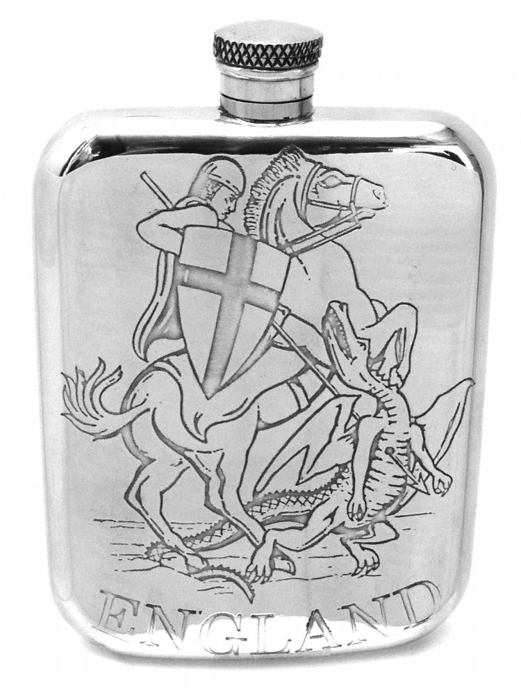 England St George & Dragon 6oz Sheffield Pewter Hip Flask
